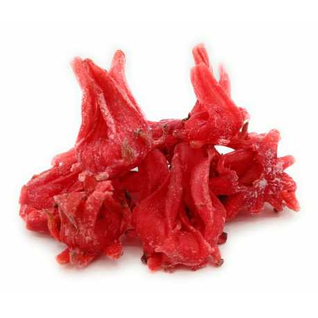 Dried Hibiscus flowers with sugar
